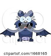 Cartoon Scared Flying Bat