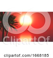 3D Palm Trees Against Sunset Ocean Landscape