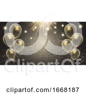 Celebration Banner With Gold Balloons And Stars