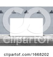 3D Blank Picture On A Wooden Table With Defocussed Empty Room Image