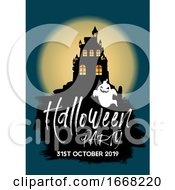 Halloween Party Background With Castle And Ghost