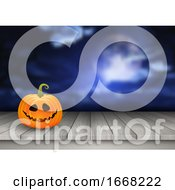 Halloween Background With Pumpkin On A Wooden Table Against A Spooky Landscape