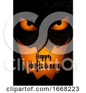 Grunge Halloween Background With Spooky Pumpkin Face