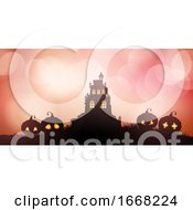 Halloween Banner With Castle And Pumpkins