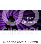 Halloween Banner With Castle On Starburst Design