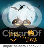 Halloween Background With Pumpkins Against A Moonlit Sky