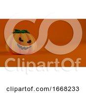 3D Halloween Background With Pumpkins