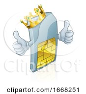 Sim Card Mobile Phone King Cartoon Mascot