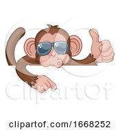 Monkey Sunglasses Thumbs Up Pointing Sign Cartoon