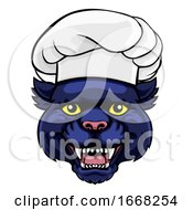 Panther Chef Mascot Cartoon Character by AtStockIllustration