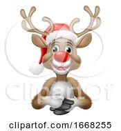 09/10/2019 - Reindeer In Christmas Santa Hat Cartoon