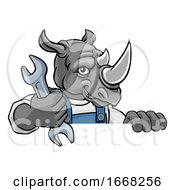 Poster, Art Print Of Rhino Plumber Or Mechanic Holding Spanner