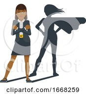 Business Woman Super Hero Shadow Cartoon Mascot