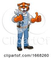 09/10/2019 - Tiger Plumber Or Mechanic Holding Spanner