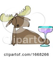Depressed Moose Holding A Cocktail