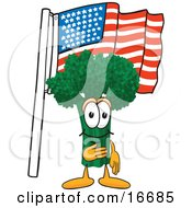 Green Broccoli Food Mascot Cartoon Character Pledging Allegiance To The American Flag