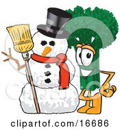 Green Broccoli Food Mascot Cartoon Character Standing By A Snowman