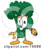 Green Broccoli Food Mascot Cartoon Character Looking Through A Magnifying Glass