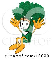 Clipart Picture Of A Green Broccoli Food Mascot Cartoon Character Jumping