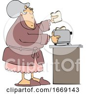 Cartoon Lady Making Toast