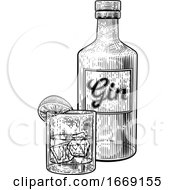 09/14/2019 - Gin Cocktail Bottle Glass And Ice Vintage Woodcut