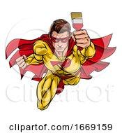 Poster, Art Print Of Super Hero Painter Decorator Holding Paintbrush