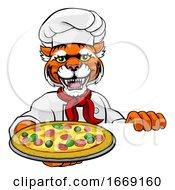 09/14/2019 - Tiger Pizza Chef Cartoon Restaurant Mascot Sign