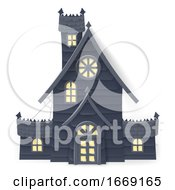 Halloween Haunted House Cartoon Papercraft Style