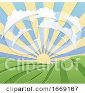 Field Rolling Hills Sunrise Sky Paper Craft Style