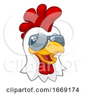 Poster, Art Print Of Chicken Rooster Cockerel Bird Sunglasses Cartoon