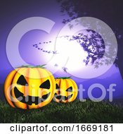 3D Landscape With Spooky Pumpkins