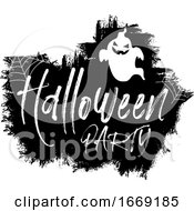 Black And White Grunge Halloween Party Ghost Design
