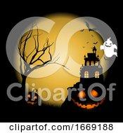 Halloween Background With Pumpkins Against Castle Landscape