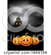 Halloween Background Pumpkins And Spooky Castle
