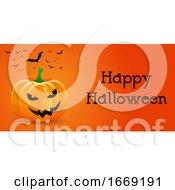 Halloween Banner With Pumpkin And Bats