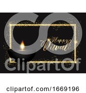 Diwali Background With Gold Glittery Border