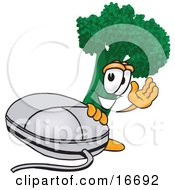 Green Broccoli Food Mascot Cartoon Character Waving And Standing By A Computer Mouse