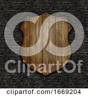3D Wooden Shield On A Grunge Brick Wall Texture