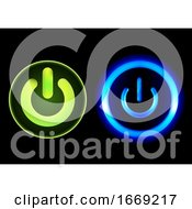 Glowing Green And Blue Power Push Buttons