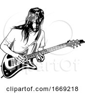 Poster, Art Print Of Black And White Male Guitarist