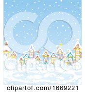 Poster, Art Print Of Snowy Day In A Winter Village