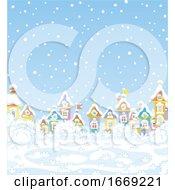 Snowy Day In A Winter Village