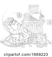 Santa Relaxing In A Rocking Chair By A Fire