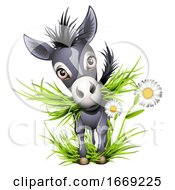 Poster, Art Print Of Cute Grey Donkey Eating Grass