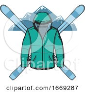 Ski Jacket And Skis Over Mountains