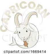 Colorful Cartoon Of Capricorn Zodiac Sign
