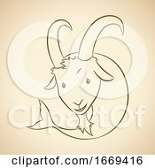 Brown Line Art Of Capricorn Zodiac Sign On A Beige Background