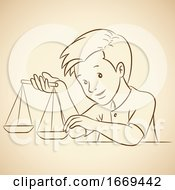 Boy Holding Libra Scales Horoscope Zodiac Astrology