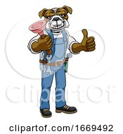 Poster, Art Print Of Bulldog Plumber Cartoon Mascot Holding Plunger