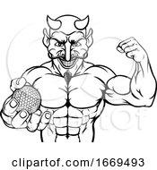 09/16/2019 - Devil Golf Sports Mascot Holding Ball
